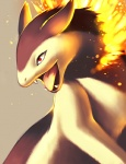 ambiguous_gender digital_media_(artwork) falvie fangs feral fire nintendo pokémon pokémon_(species) red_eyes solo tongue typhlosion video_games
