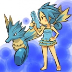 alternate_species bare_shoulders barefoot blue_hair clothing cosplay dress duo female feral fish gun hair hitec holding_object holding_weapon human humanized mammal marine moemon nintendo pokémon ponytail ranged_weapon ribbons seadra seahorse video_games weapon