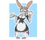 2020 absurd_res anthro avoid_posting blue_background clothed clothing cosplay disney female fully_clothed fur grey_body grey_fur hi_res holding_object judy_hopps lagomorph leporid maid_uniform mammal open_mouth purple_eyes rabbit re:zero rem_(re:zero) simple_background solo standing teapot uniform white_background zhan zootopia