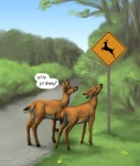 2012 anakuro cervine comic cute deer dialog english_text female feral grass hooves humor open_mouth outside road sign text tree wood   Rating: Safe  Score: 65  User: tony311  Date: July 14, 2012