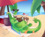 2017 ambiguous_gender beach book claws detailed_background dinogoat eddy_(eduymario) eyewear fakémon fan_character flygon happy hybrid nintendo outside palm_tree pokémon pokémon_(species) reading sand seaside serperior sky smile solo sunglasses tree video_games water watermark
