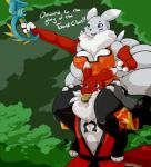 2016 alternate_color anthro big_breasts black_nose blue_eyes bread breasts bridal_gauntlets brown_eyes canine cleavage clothed clothing digimon dress duo english_text fan_character female food fox fur green_background green_eyes grey_fur hand_on_hip heterochromia hi_res japanese_clothing kimono legwear male mammal melee_weapon multi_tail navel nightfaux open_mouth outside purple_markings red_fur renamon simple_background sitting smile sword teeth text tongue tuft weapon white_fur wide_hips  Rating: Safe Score: 5 User: GameManiac Date: March 26, 2016