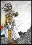 anthro armor big_breasts breasts clothing ear_piercing feline female kemba_kha_regent lion looking_at_viewer magic_the_gathering mammal melee_weapon outside piercing rock solo sun sword tribal umpherio unconvincing_armor weapon yellow_eyes  Rating: Safe Score: 1 User: Umpherio Date: August 17, 2015