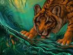 amber_eyes ambiguous_gender bubble day drinking feline feral fish flashw forest fur looking_at_viewer mammal marine orange_fur outside paws solo striped_fur stripes tiger tongue tree waterRating: SafeScore: 8User: MillcoreDate: July 09, 2016