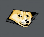 ambiguous_gender black_nose canine ceiling_cat dog doge feral fur hole_(feature) humor jimiyo looking_at_viewer mammal meme shiba_inu simple_background solo tan_fur whiskers