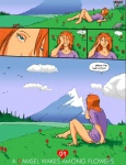 blue_eyes bottomless clothed clothing cloud comic day dialogue english_text eyes_closed female field flower grass hair human mammal meadow mountain not_furry outside plant red_hair reiger rock shirt sky sleeping solo text waking_up