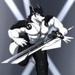 abs anthro biceps black_fur black_hair blue_eyes croiyan discordnight fur hair male muscles necklace science_fiction sergal   Rating: Safe  Score: 0  User: DiscordKnight  Date: March 26, 2015