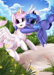2014 absurd_res blue_fur blue_hair cloud crown cutie_mark duo eclipse equine female feral flying friendship_is_magic fur hair hi_res horn hug long_hair mammal my_little_pony open_mouth outside pillow pink_hair pridark princess_celestia_(mlp) princess_luna_(mlp) purple_eyes royalty sibling sisters sky smile teal_eyes white_fur winged_unicorn wings young  Rating: Safe Score: 14 User: Robinebra Date: October 25, 2014