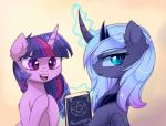 2016 book crown duo english_text equine feathered_wings feathers female feral friendship_is_magic gradient_background hair horn jewelry lyra-senpai magic mammal multicolored_hair my_little_pony necklace pentagram princess_luna_(mlp) simple_background smile text twilight_sparkle_(mlp) unicorn winged_unicorn wings young  Rating: Safe Score: 0 User: ConsciousDonkey Date: May 29, 2016