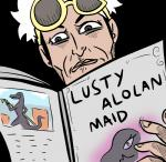 2016 <3 <3_eyes alpha_channel female guzma_(pokemon) human human_focus male mammal nintendo parody pokémon pokémon_trainer reading salazzle simple_background skyrim solo text the_elder_scrolls transparent_background unknown_artist video_games
