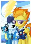 2014 amber_eyes digital_media_(artwork) equine eyewear female feral fleetfoot_(mlp) friendship_is_magic group hair horse male mammal my_little_pony mysticalpha pegasus smile soarin_(mlp) spitfire_(mlp) sunglasses two_tone_hair wings wonderbolts_(mlp)   Rating: Safe  Score: 9  User: Robinebra  Date: November 07, 2014
