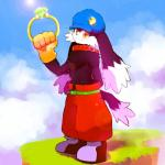 anthro big_ears brandishing clothed clothing cloudscape hand_behind_back headgear hi_res jewelry klonoa klonoa_(series) lagomorph looking_at_viewer male mammal rabbit ring sky smile solo standing topless whiskers whiteleo young  Rating: Safe Score: 1 User: Circeus Date: January 29, 2016