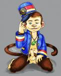 animal_crossing anthro anthrofied balls barefoot bottomless clothed clothing erection front_view hand_on_thigh hat_tip hi_res humanoid_penis kneeling looking_at_viewer male mammal monkey naughty_face navel nintendo nokemy open_shirt partially_retracted_foreskin pendant penis perineum porter_(animal_crossing) primate pubes solo uncut uniform video_games