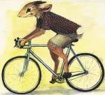 2015 ambiguous_gender antelope anthro bicycle clothed clothing dik-dik ears_back goat-soap hooves horn mammal riding semi-anthro shirt solo tongue tongue_out traditional_media_(artwork) wheels