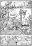 avian bear bird black_and_white boots border canine clothing comic detailed_background dialogue english_text footwear furronika grass hi_res male mammal melee_weapon monochrome outside ruins scenery shirt sky speech_bubble sword text tree weapon white_border  Rating: Safe Score: 4 User: Munkelzahn Date: March 08, 2016