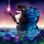 anthro arthropod breasts butterfly butterfly_wings canine female fire fox hybrid insect magic mammal night nude outside sky solo star starry_sky water wet whitmaverick wings  Rating: Questionable Score: 3 User: TonyLemur Date: February 21, 2010