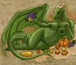anthro apple bracelet breasts caribou_(artist) chubby dragon female fruit goblet grapes horn jewelry membranous_wings necklace nude pear pumpkin pussy red_eyes scalie solo wings  Rating: Explicit Score: 15 User: chdgs Date: April 16, 2015