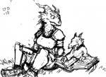 armor child humanoid kobold monochrome mother parent reading reptile scalie sitting together unknown_artist young   Rating: Safe  Score: 1  User: Zedee  Date: April 24, 2014