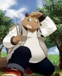 2015 absurd_res anthro belly brown_fur canid canine clothing fur hi_res humanoid_hands male mammal outside overweight overweight_male pants raccoon_dog shirt solo tanuki zuppu11Rating: SafeScore: 1User: mapachitoDate: March 24, 2019