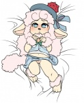 bed blue_eyes blush bow canine caprine clothing colette cub dog female fluffy hair hat loli mammal midriff navel pink_hair pussy sandopoliszone sheep sheepdog shy solo underwear upskirt white_hair white_sclera young  Rating: Explicit Score: 8 User: SirBrownBear Date: February 10, 2016