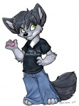 2007 anthro black_hair canine clothing hair male mammal pants shirt simple_background solo white_background wolf zeriara  Rating: Safe Score: 0 User: Riversyde Date: October 09, 2010