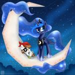 2014 blue_eyes blue_hair brown_eyes brown_hair cloud crescent_moon crown duo durag equine eye_patch eyeshadow eyewear female friendship_is_magic hair horn makeup male mammal moon my_little_pony necklace outside princess_luna_(mlp) skull sparkles star swanlullaby winged_unicorn wings young   Rating: Safe  Score: 7  User: 2DUK  Date: November 16, 2014
