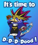 2011 atem_(yu-gi-oh!) avian beak bird black_hair blonde_hair blue_background blue_feathers bottomless cards clothed clothed_feral clothing cosplay crossover deck disgaea duel_disc english_text feathers feral hair humor jacket konami looking_at_viewer millennium_puzzle parody penguin prinny purple_eyes raised_arm red_hair shirt simple_background solo talisment text video_games white_feathers yu-gi-oh  Rating: Safe Score: 44 User: GameManiac Date: August 04, 2015