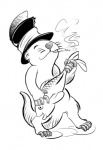 black_and_white cigarette dancing fish happy hat mammal marine monochrome mustelid otter simple_background smile smoking unknown_artist  Rating: Safe Score: 3 User: SwiperTheFox Date: October 01, 2015