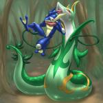 ambiguous_gender amphibian anthro duo feral forest frog greninja hi_res mykiio nintendo outside pokémon red_eyes reptile scalie serperior size_difference snake story_in_description tongue tree video_games vines vore webbed_feet webbed_hands   Rating: Safe  Score: 5  User: PokemonArtist  Date: November 26, 2014