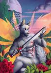 abs anthro canine clothed clothing flower fur kuroame male mammal melee_weapon nude outside plant sitting smile solo sword teeth topless weapon