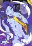 ambiguous_gender ashura_(momoden) blue_eyes blue_hair blue_skin blush demon_boy hair horn lips lipstick looking_at_viewer penis pointy_ears purple_lipstick scan tagme text tokimachi_eisei translation_request trap  Rating: Explicit Score: 0 User: my_bad_english Date: September 01, 2015