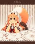 abstract_background animal_humanoid bed bracelet brown_eyes canine cellphone clothed clothing dav-19 female fox fox_humanoid fully_clothed hair head_on_hand humanoid jewelry legwear looking_at_viewer lying mammal on_bed on_front orange_hair patricia_(dav-19) phone pillow relaxing ribbons sailor_fuku skirt socks solo