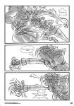 attack bow canine clothing comic curly_hair drill_hair english_text female greyscale human locofuria male mammal monochrome open_mouth plain_background punch text torn_clothing transformation were werewolf white_background yelling   Rating: Safe  Score: 0  User: Buscami  Date: March 08, 2014