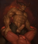 abs anthro balls demon duo erection faceless_male fangs fundles glowing glowing_eyes horn human looking_at_viewer low-angle_shot male male/male mammal muscular navel nipples nude pecs penis solo_focus uncut  Rating: Explicit Score: 38 User: TheSgt Date: August 20, 2015