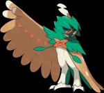 abs anthro avian bird decidueye nintendo official_art owl pokémon red_eyes simple_background solo video_games wings