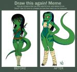 anthro bandage before_and_after black_hair bottomless breasts clawdia_(mekachii) clothed clothing featureless_breasts featureless_crotch female green_belly green_body hair hand_on_hip leg_markings long_hair markings mekachii one_eye_closed red_eyes reverse_countershading scalie smile solo thick_tail wide_hips