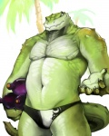 alligator anthro bottle bulge clothed clothing cork crocodilian green_scales male muscular palm_tree reptile scales scalie slightly_chubby solo stocky tree underwear vu06