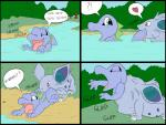 comic feral guzzle hi_res nidoran nidoran♀ nintendo oral_vore pokémon same_size_vore sound_effects sparky_the_chu swallowing swimming tongue totodile video_games vore