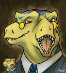 dinosaur diprosopus eyewear glasses male monocle multi_eye multi_muzzle mutation necktie pac scalie suit theropod tyrannosaurus_rex  Rating: Safe Score: -1 User: mutanimal Date: April 14, 2016