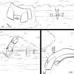 1:1 anthro antlers black_and_white cervid clothed clothing comic digital_drawing_(artwork) digital_media_(artwork) duo female horn lagomorph lake leporid male mammal monochrome outside pier rabbit seaside slypon solo_focus tree undressing water