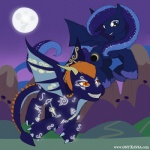 2013 blue_hair blue_scales cutie_mark dragon duo eclipse equestria equine fan_character female flying glowing hair horn horse hybrid male mammal moon my_little_pony night orange_hair outside pegasus pony scalie wings  Rating: Safe Score: -2 User: EvilScotsman12 Date: January 24, 2013