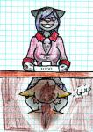 anthro blush chaoshetra clothed clothing cyote desk duo dyed_hair feet_first female fur hair male oral same_size_vore sound_effects spots spotted_fur texi_vaniva vore   Rating: Questionable  Score: -5  User: Montego  Date: September 27, 2014