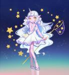 2017 5_fingers anthro breasts butterfly_net caprine clothed clothing dress female fingers footwear hair hi_res high_heels holding_object horn kezi_(artist) league_of_legends long_hair mammal pointy_ears purple_skin riot_games shoes simple_background smile solo soraka standing star video_games white_hair yellow_eyesRating: SafeScore: 0User: NarcolepsyStormDate: December 17, 2017