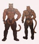 2017 5_fingers abs anthro back_muscles belt biceps biped black_boots black_bottomwear black_clothing black_footwear black_fur black_nipples black_nose black_panther black_tail black_underwear blue_eyes boots butt butt_markings chaps clothed clothing digital_media_(artwork) feline footwear front_view fur furgonomics grey_background hand_on_hip harness hi_res humanoid_hands looking_at_viewer male mammal maririn markings model_sheet multiple_angles muscular muscular_male nipples panther pecs rear_view rubber simple_background smile solo standing tail_clothing teeth thong tyson_(maririn) underwear whiskers white_markings wrist_cuff