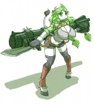 2014 anthro barefoot belt bent_over big_breasts black_fur blush bovine breasts cattle clothed clothing english_text female fur gloves green_eyes green_hair hair hooves horn legwear long_hair looking_at_viewer mammal raised_tail ranged_weapon rocket_launcher shadow shorts simple_background skykain smile solo text torn_clothing weapon white_background white_fur  Rating: Safe Score: 10 User: GameManiac Date: May 12, 2015