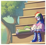 2013 arthropod bleachers blue_footwear blue_legwear blue_outerwear blue_skin bracelet butterfly clothing duo equestria_girls eyes_closed female fluttershy_(eg) footwear friends green_bottomwear green_legwear hair hand_on_thigh head_on_lap high_heels human humanized insect jacket jewelry knee_boots knee_socks laced_boots legwear looking_down lying mammal multicolored_hair my_little_pony on_lap outside pink_bottomwear pink_eyes pink_hair pink_legwear purple_eyes raikoh-illust rainbow_dash_(eg) rainbow_hair rainbow_legwear ruffles shirt shoes sitting skirt sleeping socks stairs surprise tank_top touching_hair tree white_footwear white_skin white_topwear wristband  Rating: Safe Score: 1 User: 2DUK Date: August 14, 2013