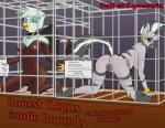 ! 2015 all_fours anthro anus areola avian blue_eyes bracelet butt cage collar duo eggonaught english_text equine fall_of_equestria fan_character female friendship_is_magic gold_(metal) gryphon hi_res jewelry kneeling looking_at_viewer looking_back mammal my_little_pony nipples nude piercing pussy shackles slave slit_pupils text zebra  Rating: Explicit Score: 25 User: 2DUK Date: October 10, 2015