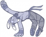 anthro belt blumaroo breakdance clothed clothing fingerless_gloves footwear gloves hair_tuft half-dressed headphones jean_(artist) kangaroo male mammal marsupial monochrome neopets pants sash shoes sketch solo topless  Rating: Safe Score: 4 User: AnonymousNeopian Date: April 05, 2015