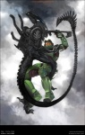 alien alien_(franchise) armor drone eyeless gun halo_(series) master_chief ranged_weapon smg spartan unknown_artist video_games visor weapon xenomorph   Rating: Safe  Score: 8  User: RenaDyne  Date: February 12, 2011