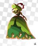 absurd_res ambiguous_gender anthro arthropod clothing dress fakémon female feral gigantamax_pokémon hi_res insect larva leavanny looking_at_viewer nintendo plant pokémon pokémon_(species) red_eyes sewaddle shio_nagasu video_games
